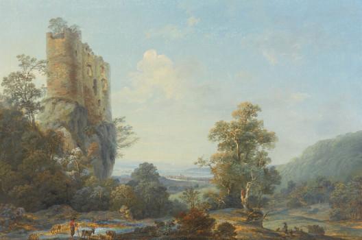 Schloss Reichenstein bei Arlesheim, im Dunst der Ferne die Umrisse der Stadt Basel, Johann Joseph Hartmann, Johann Baptist Stuntz, 1788.