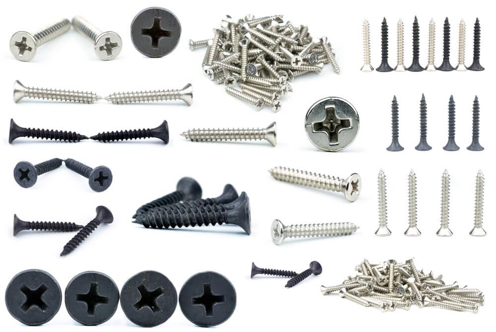 Verschiedene Arten von Schrauben.